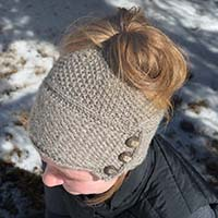 Looking for a twist on the Messy Bun  Ponytail hat  This stylish and unique  messy bun hat features the wicker stitch brim. The brim is knit first in  rows. 0c6f8c60f60