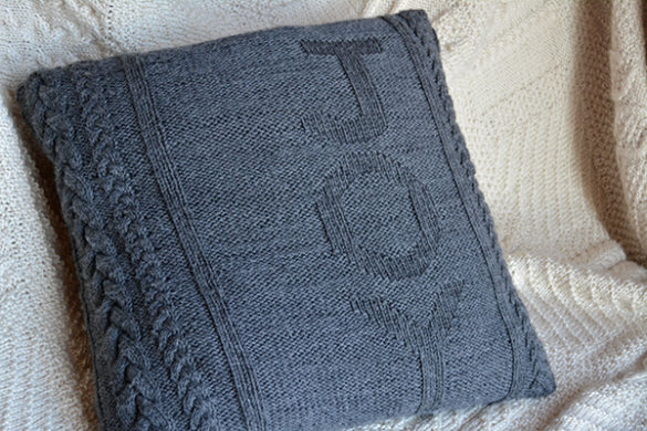 Joy Knitted Christmas Pillow Cover